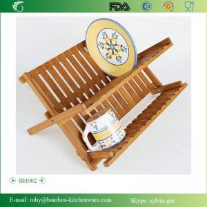 China BH002/Bamboo Scissor Style Folding Dish Rack Plate Flatware Holder Set on sale