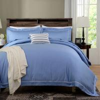 China Blue Dyed Solid Bedding Sets For Hotel And Beauty Salon Hypoallergenic wholesale