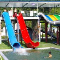 China Water Park Swimming Pool Slides , Fiberglass Barrel And Sled Slides wholesale