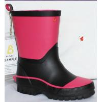 China girl's rubber  rain boots,black and pink on sale
