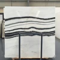 China Panda White Natural Marble Tile For Flooring Layout , Book Matched Marble Stone Tile wholesale