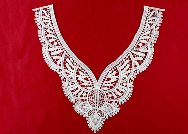 Quality Vintage Polyester V Neck Lace Collar Applique For Women Blouse Azo Free DTM Dyed for sale