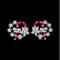 China Exquisite Star Charm Earrings Christmas Wreath Enamel Costume Jewellery wholesale