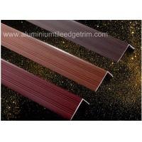 China Wood Grain Color Aluminium Angle Trim Profile For Laminate Flooring Edge on sale