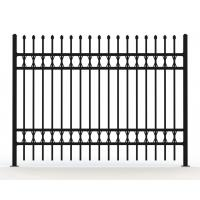 China Tubular Steel Fence panels @1800m x 2100m spear crimped stain balck Powder Ral 9001 Garrison Security Fence panels wholesale
