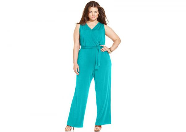 Quality Plus Size Belted Sexy Womens Jumpsuits Surplice Neckline for women for sale