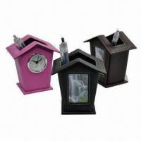 China Promotional Leather Pen Holders with Photo Frame or Clock and Business Card Holder wholesale
