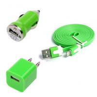 China USB Home AC Wall charger+Car Charger+8 Pin Sync USB Cord for iPhone 5 5S 5C 5G Green wholesale