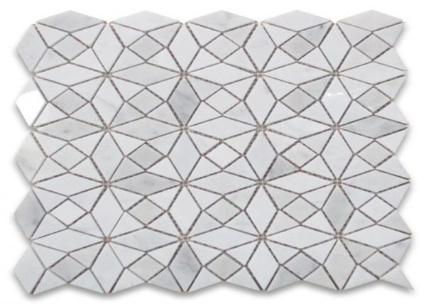 Quality Kaleidoscope Mosaic Bathroom Tiles , Honed Stone Mosaic Floor Tile for sale