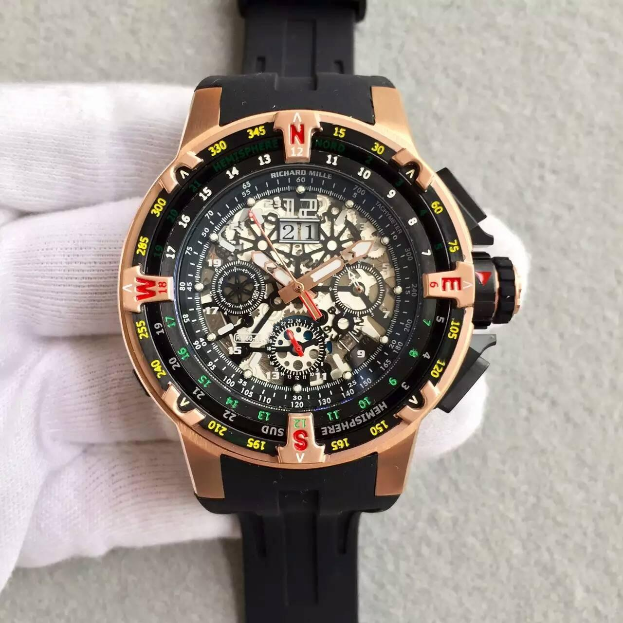 China Richard Mille RM60-01 Regatta Flyback Chronograph Rose Gold & PVD Watch Black Rubber Strap wholesale