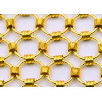 China 1.5 x15mm Brass Color Metal Chainmail Ring Mesh Drapery For Window Screen wholesale