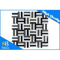 China Black Mixed White Marble Mosaic Wall Tiles Strip Shape Home Decoration Tile 10mm Thickness wholesale