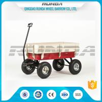 China Light Duty Garden Mesh Cart 21kg , Red Color Steel Garden Wagon 10inches Wheel wholesale