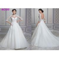 China Stunning Ivory Women's  Princess Bride Wedding Dress With Long Sleeves And Train wholesale