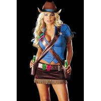 China Shootem Up Cowgirl Costume / Plus Size Halloween Costumes Blue Brown wholesale