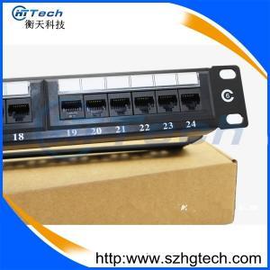 China Krone/Dual IDC UTP Cat6 24Port Patch Panel Black Color on sale