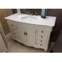 "Crystal White 22"" Wide Marble Vanity Countertops With Oval Sink And Three Faucet Holes"