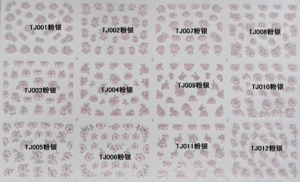 Quality Nail Art Stickers,Nail Art Decals, Water Slide Nail Stickers, TJ01-12 pink for sale
