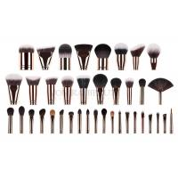 China Custom Private Labeled Makeup Brushes High End Luxury With Rosy Brass Ferrule wholesale