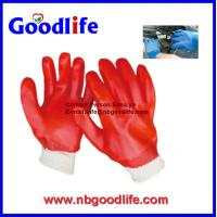 China Safety product red fluorescent finished coated pvc gloves wholesale