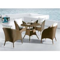 China Beige Dining Table With Rattan Chairs , Rattan Glass Table And Chairs wholesale