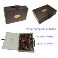 China Wine Carry-on Suitcase, Cardboard Wine Box for Two Bottles with Logo Sticker wholesale