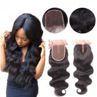 China Middle Part Human Hair Lace Closure With Baby Hair 4x4 Natural Color Body Wave wholesale