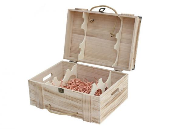 Quality Solid Paulownia Wood Hand Made Wine Crate Storage Boxes With Lock For 6 Bottle for sale