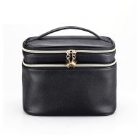 China Waterproof PU Leather Cylinder Bucket Makeup Bag With Mirror wholesale