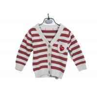 China Red Striped Long Sleeve Kids Knit Sweater Button Cardigan With Embroidery wholesale