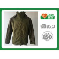 China Olive Color Lightweight Breathable Rain Jacket For Hiking / Fishing / Hunting wholesale