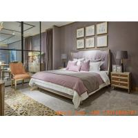 China Villa house upholstered headboard by golden painting wood bed with luxury Nightstand for Villa house interior designer wholesale