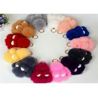 China 13-20cm Fluffy Bunny Keychain With 100% PP Cotton Filling / Real Rabbit Fur wholesale