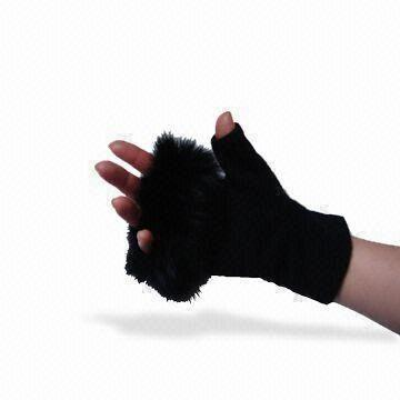 Quality Women's Woolen Gloves, Available in Black, Customized Sizes are Accepted for sale