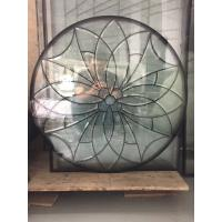 The circular decorative door glass with patina caming and glue chip beveled