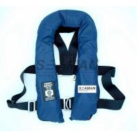 China SOLAS 275N Navy Blue Inflatable Life Jacket Double Air Chamber 60G Cylinder With Harness D Ring wholesale