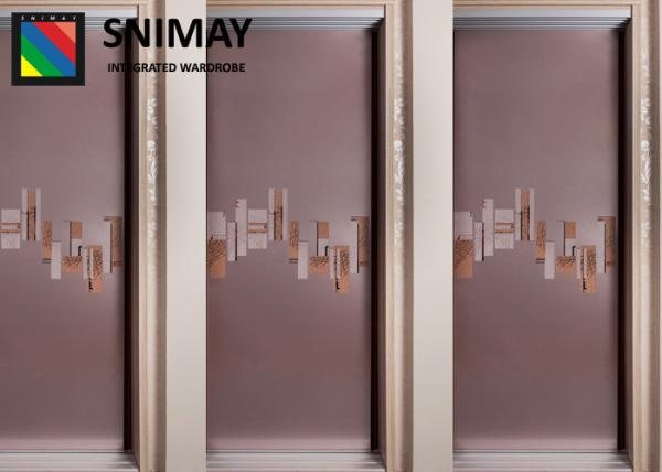 Quality Standard Soft Leather Wooden Sliding Wardrobe Doors Easy Assembly for sale