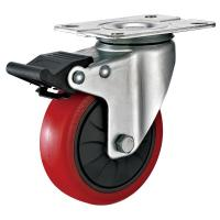 China 4 Inches Polyurethane PU Caster Wheel With Total Locking Brakes Color Optional wholesale