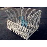 China Galvanized Finish Logistic Wire Mesh Cages / Folding storage cage wholesale