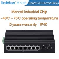 China Wide temperature 10 ports 10 /100/1000Mbps Gigabit PoE Industrial network Switch wholesale