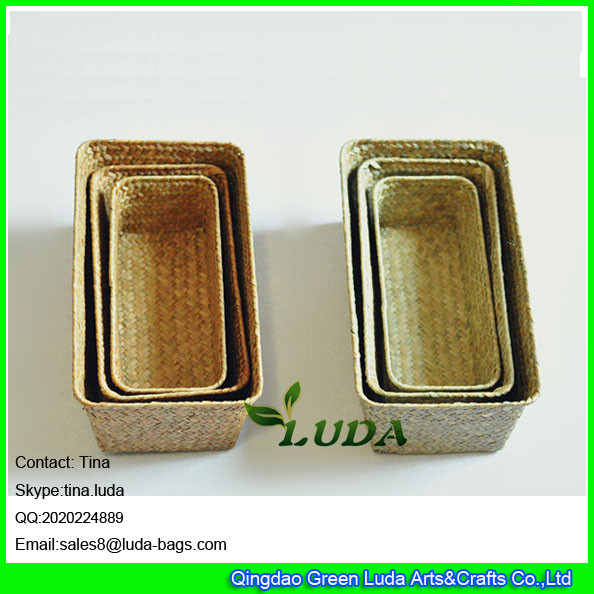 Quality LUDA wholesale eco-friendly cheap handmade woven straw storage basket weaving for sale