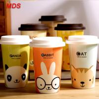 China Creative portable colored bone china drinking mug milk coffee cup with lid on sale