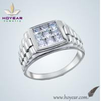 China Men's watch shape 925 sterling silver white ring with flashy stones on sale