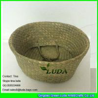 China LUDA foldable storage box natural seagrass straw basket with handles wholesale