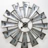 China Big Size Rustic OEM Vintage Farmhouse Decorate Antique Metal Decorative Large Windmill Quartz Wall Clock wholesale