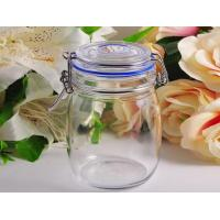 China Airtight Glass Kitchen Storage Jars Canister 913Ml With Flip Top on sale