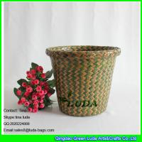 China LUDA mixed color hand woven seagrass straw storage basket small sundries basket wholesale