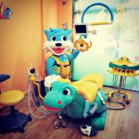 China Attractive blue cat kids dental chair with LED light wholesale