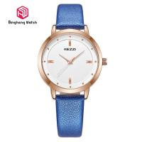 China Quartz Water Resistant Wrist Watch Buckle Clasp With Blue Leather Band on sale
