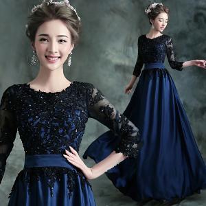 China Black O Neck Three Quarter Sleeves Elegant Evening Dresses TSJY013 wholesale